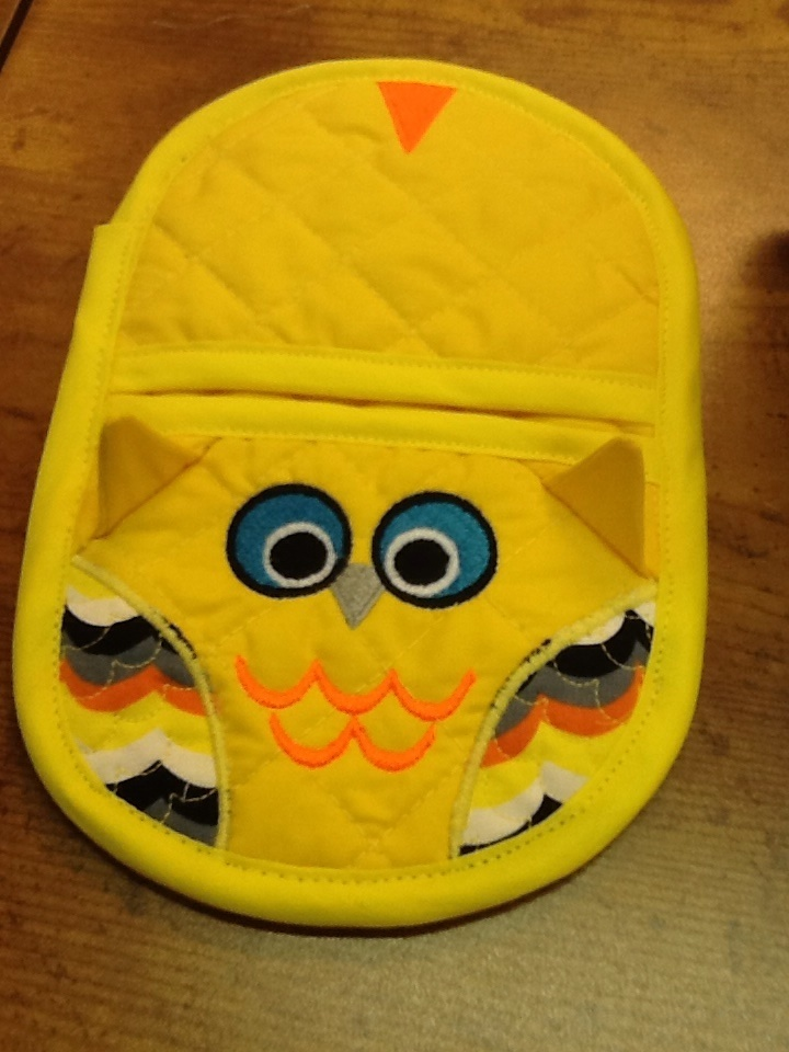 owl oven mitt embroidery in the hoop