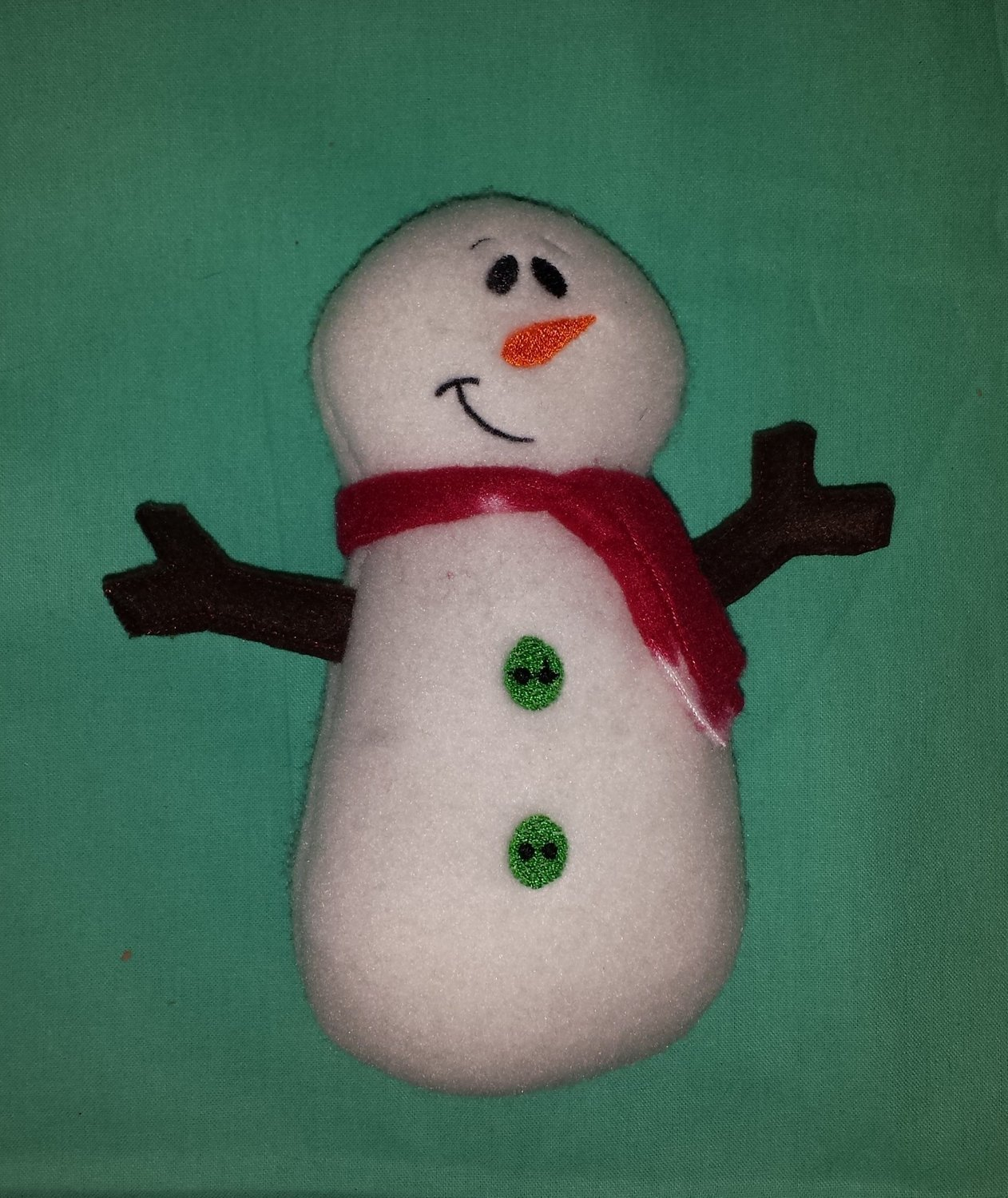 snowman stuffie in the hoop embroidery design