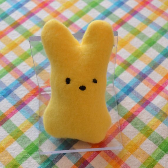 Peeps inspired Bunny stuffie in the hoop embroidery design