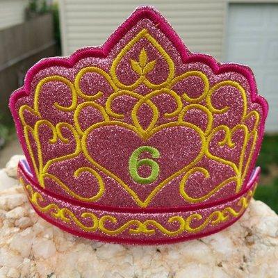 Birthday crown Tiara headband slider machine embroidery design