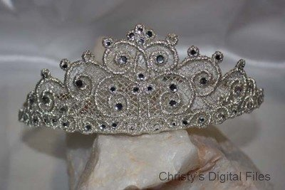 Lace swirl crown Tiara headband slider machine embroidery design