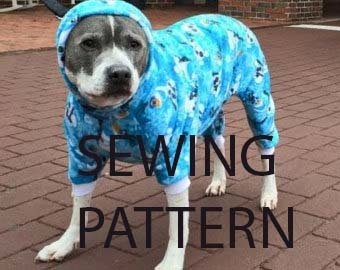 Doggie pajama sewing pattern - large breed pitbull - one size only