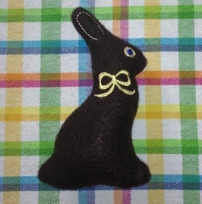 chocolate bunny stuffie in the hoop embroidery design