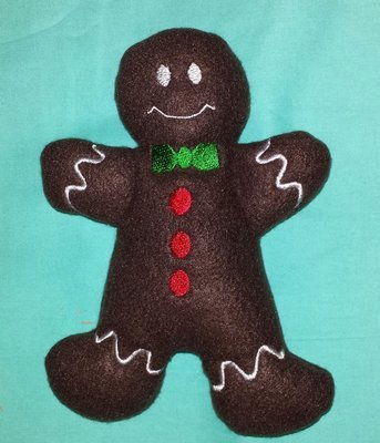 Gingerbreadman stuffie in the hoop embroidery design