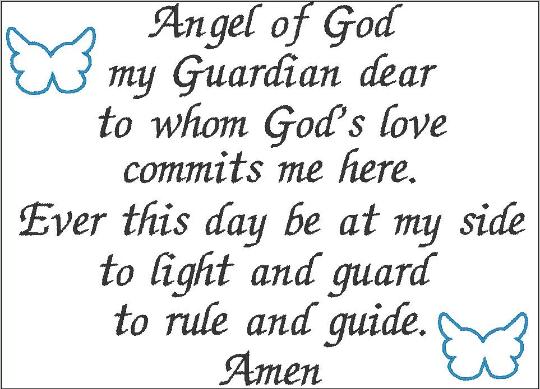 Guardian Angel prayer embroidery design digital English
