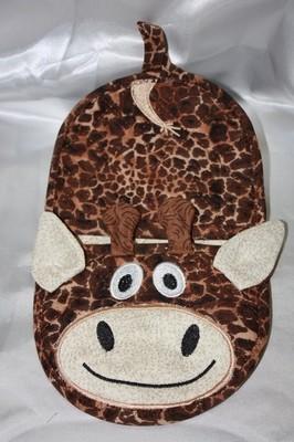 giraffe oven mitt embroidery in the hoop