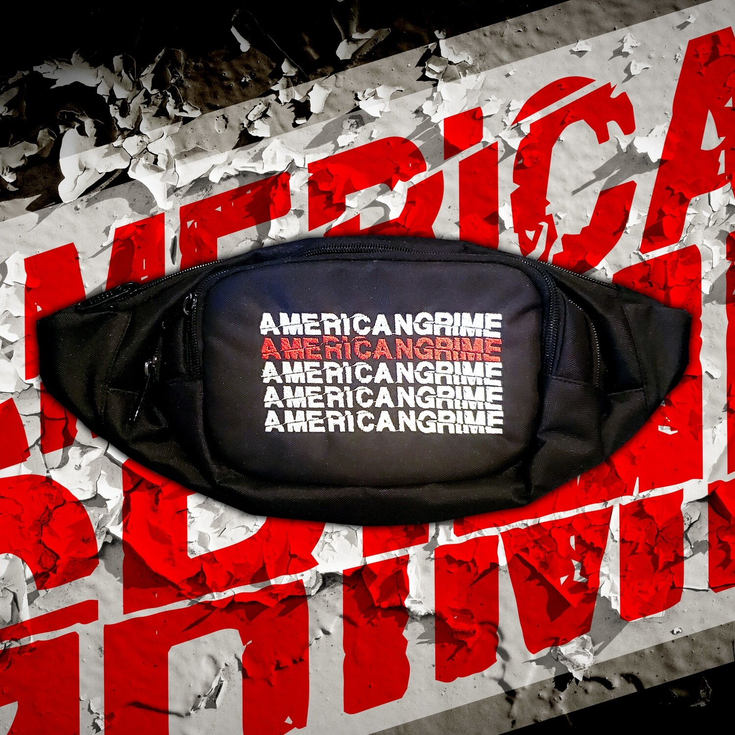 American Grime Fanny Pack with Stacked logo in White and Red