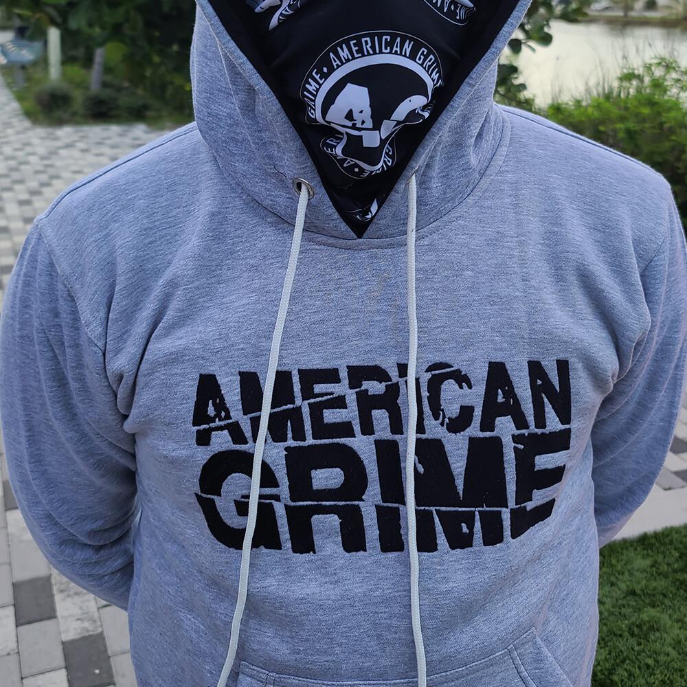 American Grime Embroidered Hoodie (Black on Grey)