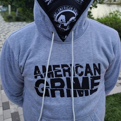 American Grime Embroidered Hoodie (Black on Grey)