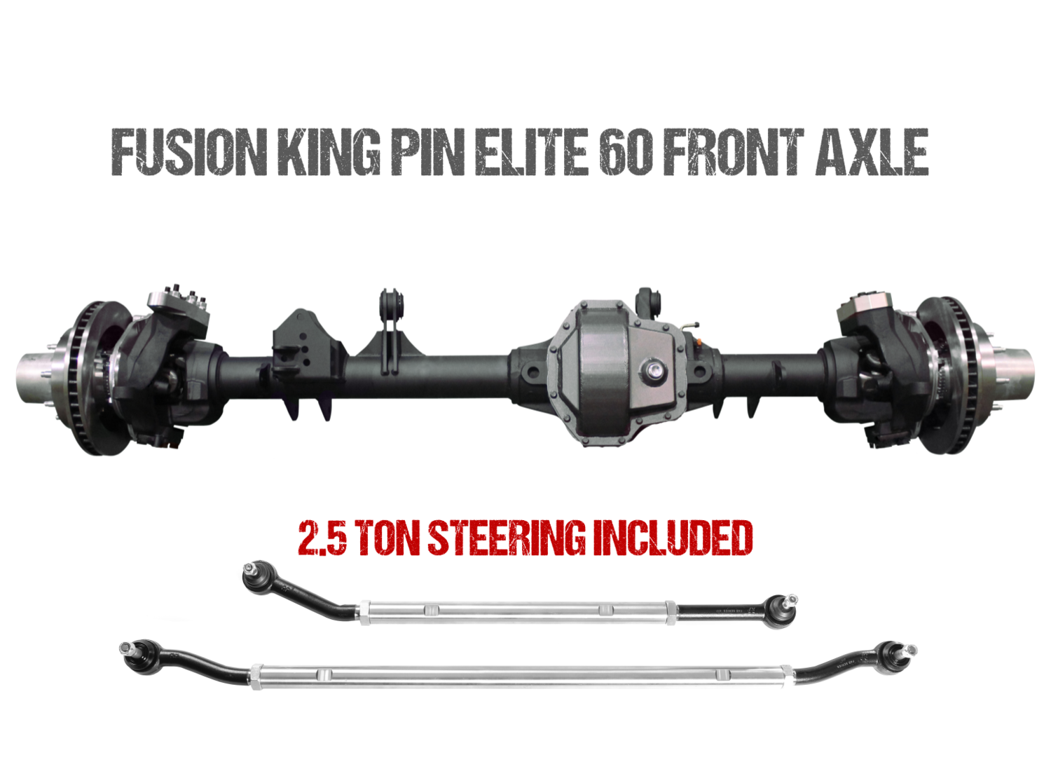 """Fusion Elite Kingpin 60 Front Axle Assembly 72"""" for Jeep JL"""