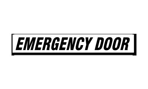 Emergency Door Italic- Black or Red
