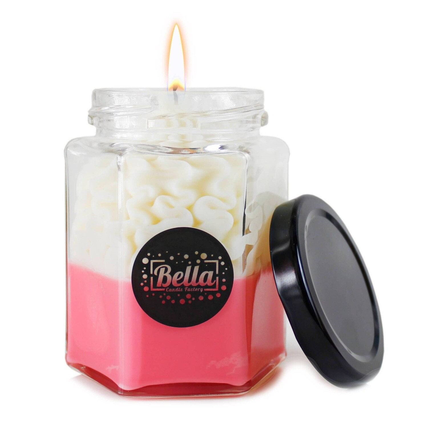 Bella Candle Factory - Pink Dolce: Cinnamon  Scented dessert jar candle
