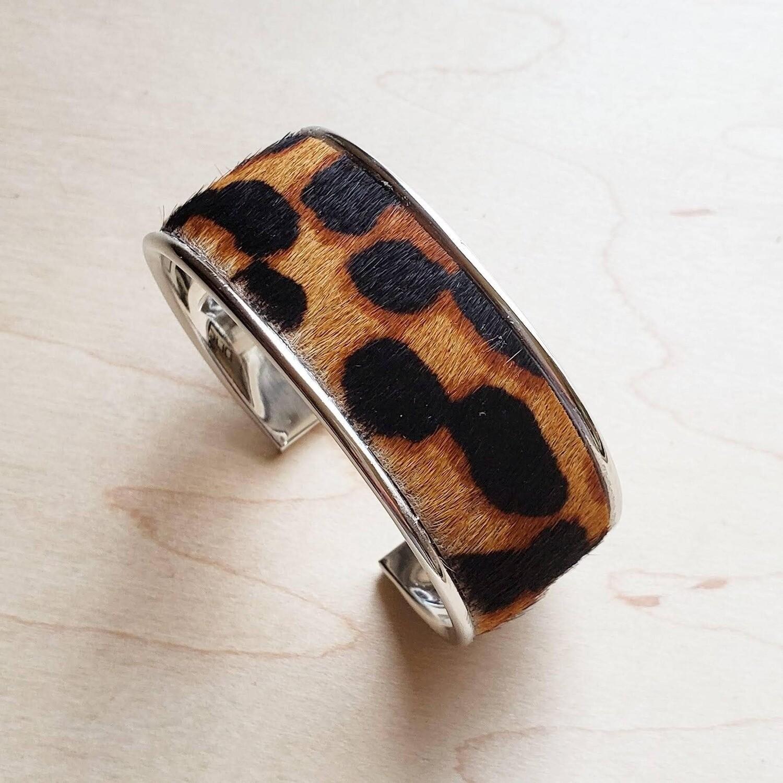 Narrow Cuff Bangle Bracelet in Hair on Hide Leopard