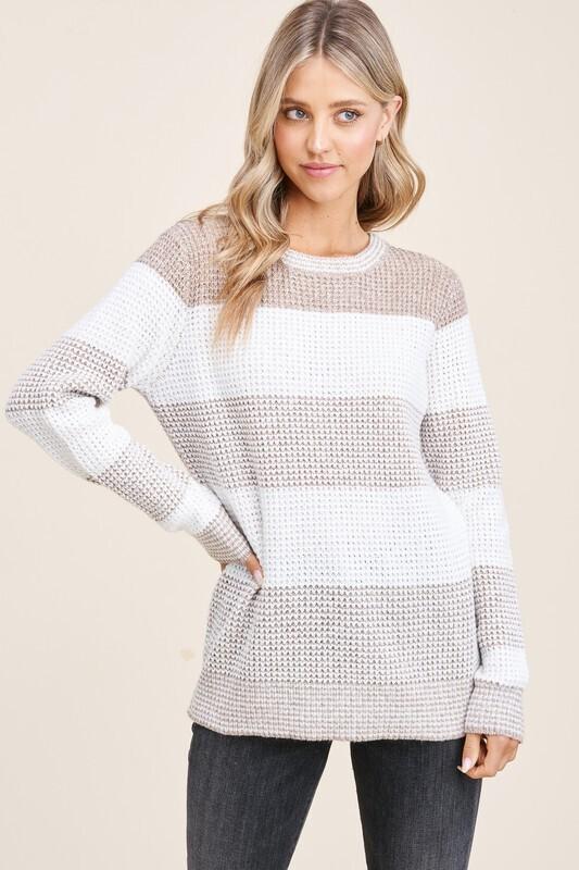 Taupe/Ivory Crewneck Sweater