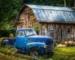Truck At The Barn Panel Blue