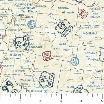 Northcott Route 66 Map Cream Multi