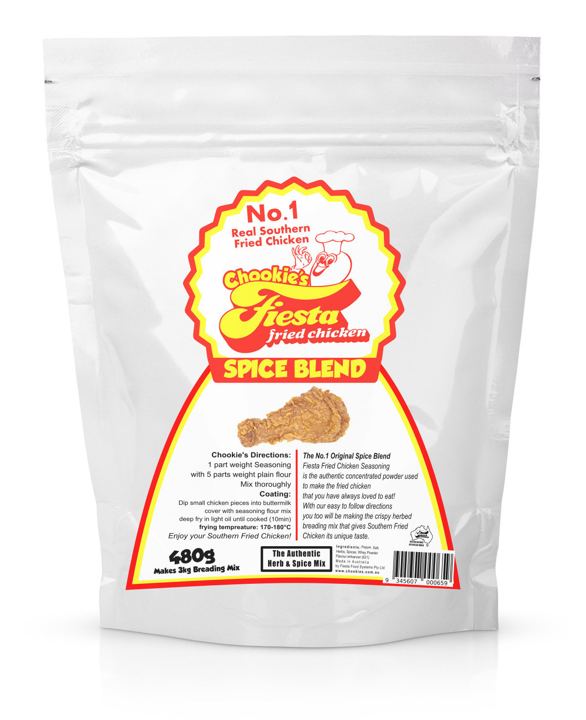 500g Chookie's Fiesta Concentrated Spice Blend (Coats ~ 20kg of Chicken)