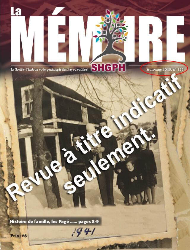 Revue La Mémoire (Choisir le numéro du volume désiré avant d'ajouter au panier)