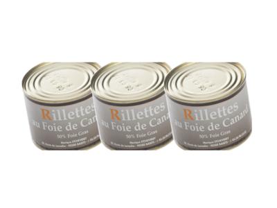 Lot de 3 Rillettes au Foie Gras de canard 190 g
