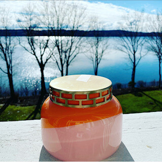 Pink and orange Volcano candle