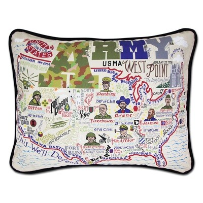 Army Hand Embroidered pillow