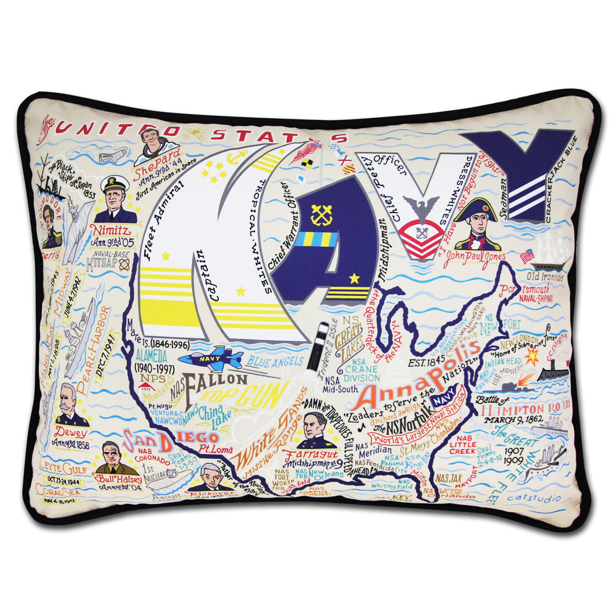 Navy hand Embroidered pillow
