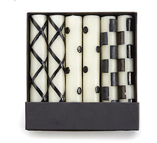 6 pack black and white candles-sold out