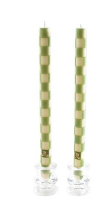 Green and white tapers
