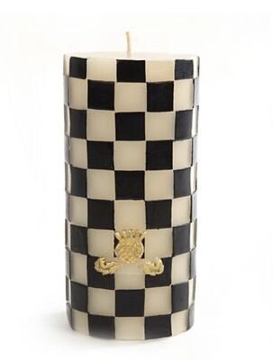 "6"" high black & white checked pillar"