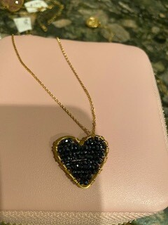 black beaded heart necklace