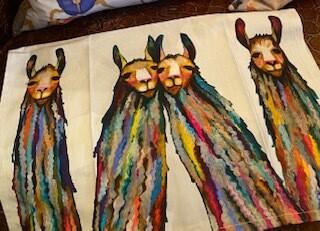 Happy llamas tea towel