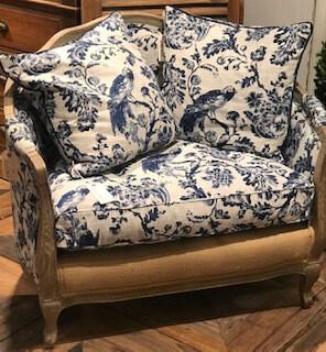 Blue & white settee-one left