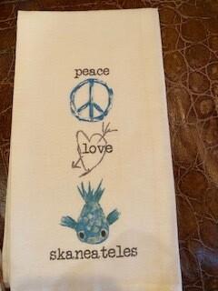 Peace Love Skaneateles tea towel