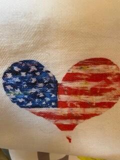 Patriotic heart tea towel