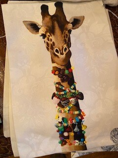 Giraffe tea towel.