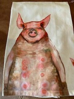 4 pigs tea towel