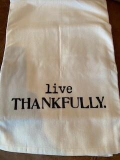 Live thankfully tea towel