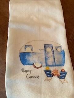 """""""Happy Campers"""" tea towel"""