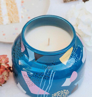 Beautiful blues volcano candle