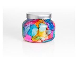 mini volcano watercolor candle
