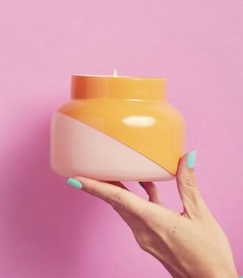 Mini orange and pink volcano candle