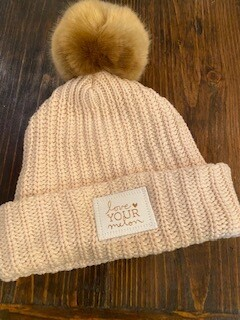 light pink with natural pom Love Your Melon foil hat-sold out