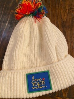 Love Your Melon White hat with colorful pom