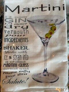 Martini recipe towel