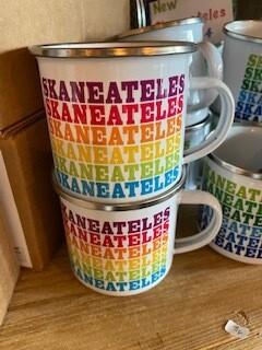 colorful rainbow Skaneateles enamelware mug