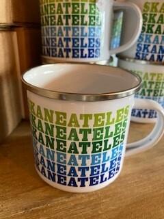 Blue rainbow Skaneateles enamelware mug
