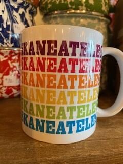 Rainbow Skaneateles ceramic mug with matching box