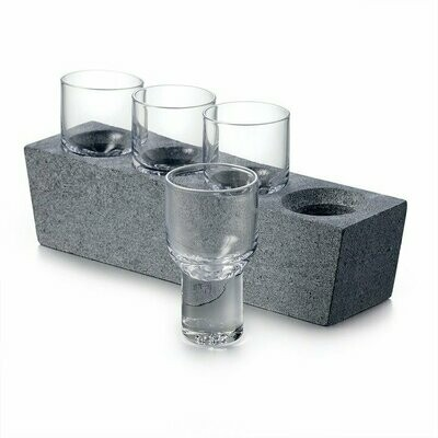Alpine Vodka Set with Soapstone, Set of 4