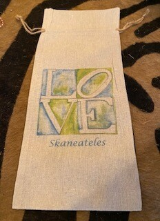 LOVE Skaneateles wine bag