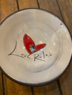 Love rules ceramic bowl